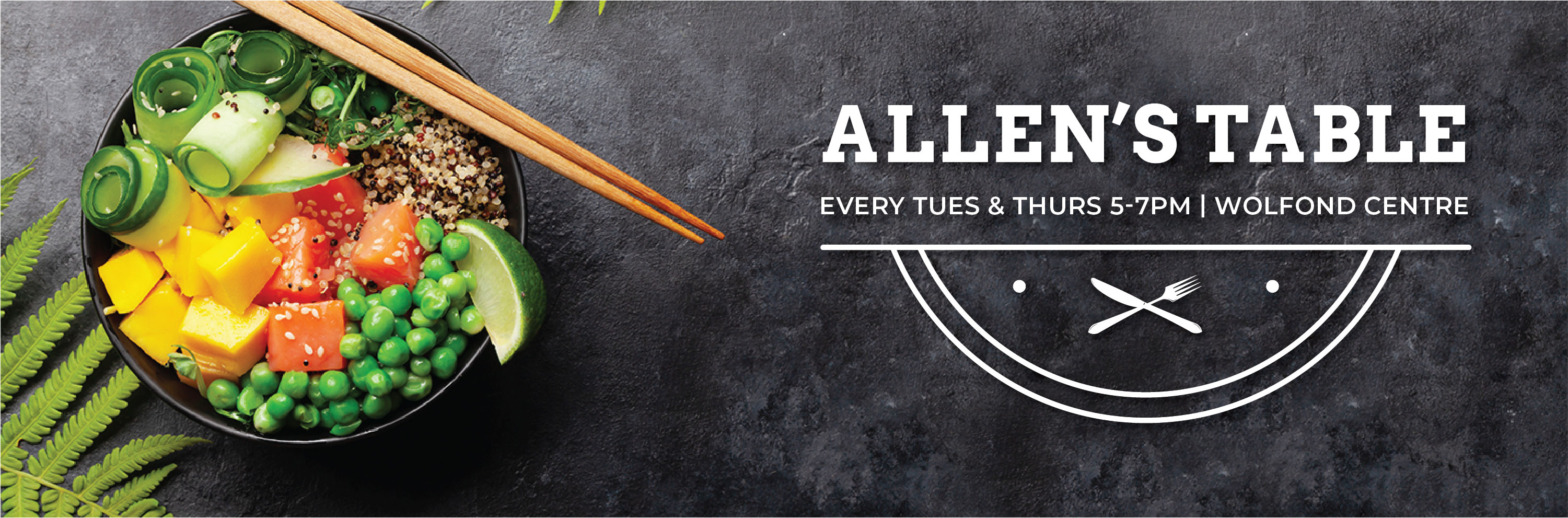After much anticipation, kosher meals are back at Allen's Table!! Every Tuesday & Thursday from 5-7 pm at the Wolfond Centre